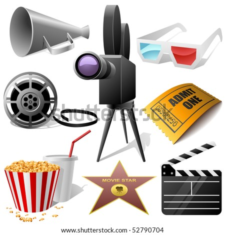 Cinema symbols vector set isolated on white.