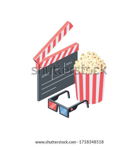 Cinema, take, movie, glasses, popcorn. Vector 3d isometric, color web icon, new flat style. Creative illustration design, isolated graphic idea for infographics.