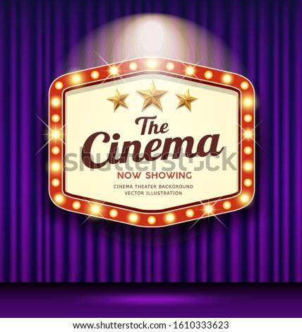 Cinema Theater Hexagon sign purple curtain light up banner design background, vector illustration