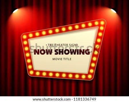 Cinema Theater Retro Sign on curtain with spotlight. Vector Illustration #1181336749