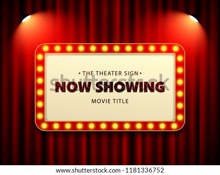 Cinema Theater Retro Sign on curtain with spotlight. Vector Illustration #1181336752