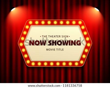 Cinema Theater Retro Sign on curtain with spotlight. Vector Illustration #1181336758