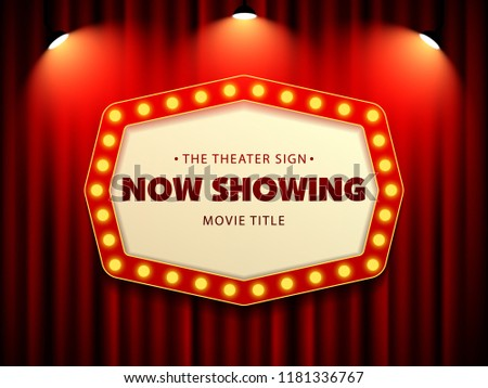 Cinema Theater Retro Sign on curtain with spotlight. Vector Illustration #1181336767