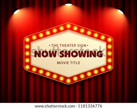Cinema Theater Retro Sign on curtain with spotlight. Vector Illustration #1181336776