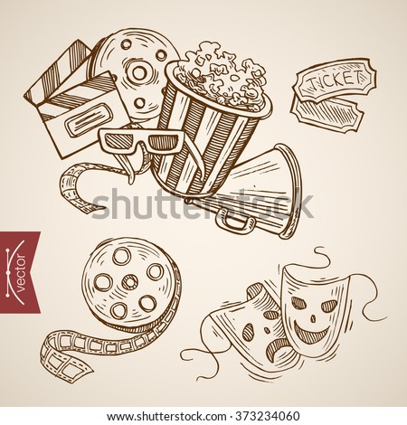 Cinema theater show drama ticket popcorn clapper film icon set. Engraving style pen pencil crosshatch hatching paper painting retro vintage vector lineart illustration.