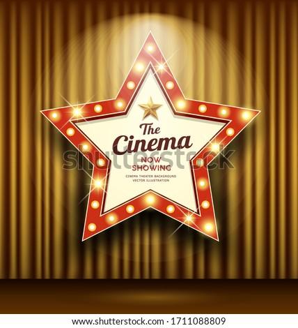Cinema Theater sign star shape gold curtain light up banner design background, vector illustration