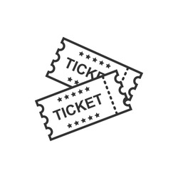Cinema ticket icon in flat style. Admit one coupon entrance vector illustration on white isolated background. Ticket business concept.