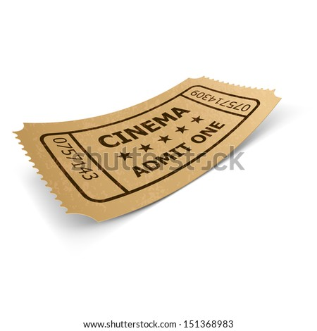 Cinema ticket in retro style design isolated on white. Vintage symbol of film industry. Entertainment and leisure.