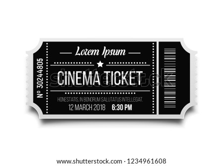 Cinema ticket isolated on white background. Retro movie coupon. Vector illustration.