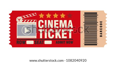 cinema ticket, skip to watch movies, realistic look, flat style, vector image