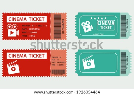 Cinema ticket, two realistic cinema tickets isolated on white background. Vector, cartoon illustration. Vector.
