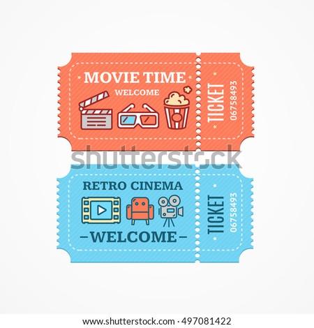 cinema tickets flat flat design ...