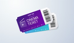 Cinema tickets on white background. Vector realistic illustration. Movie admissions. Coupon design. Top view