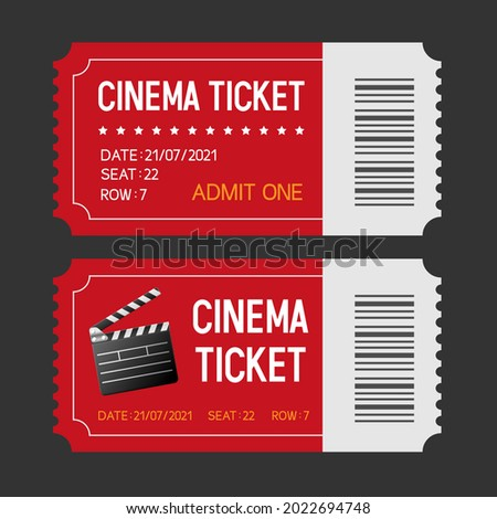 """Cinema tickets. Set of tickets to the cinema. Movie ticket template with clapperboard and the inscription """"Cinema Ticket"""" and details. Vector illustration."""