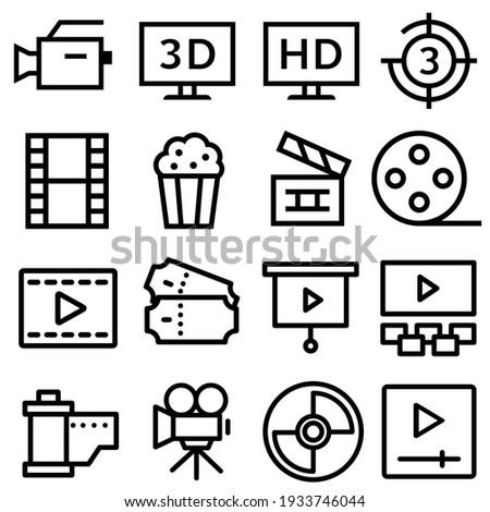 Cinema vector icon set. movie  illustration symbol collection. movie house sign or logo.