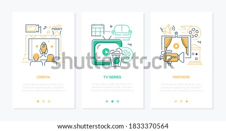Cinema - vector line design style web banners with copy space for text. Entertainment, leisure idea. Couple watching movie, TV series, premiere linear illustrations. Film reel, camera, popcorn images
