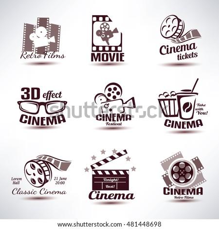 cinema vector symbols and retro emblems collection
