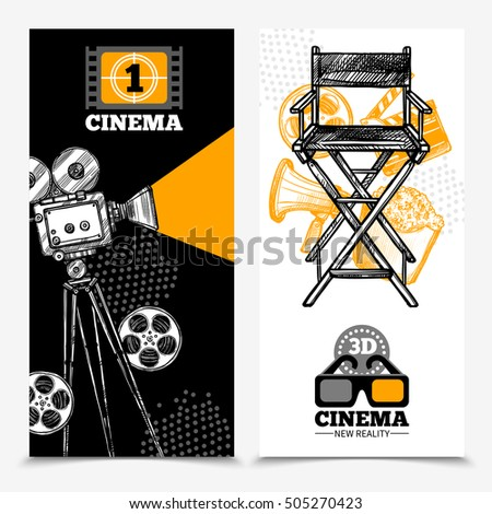 Cinema vertical banners with camera tape  director chair and 3d glasses vector illustration