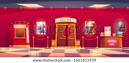 Cinema with cashbox and counter with popcorn. Vector cartoon illustration of luxury movie theater interior with tickets and snack shop, film posters and red rope fence Сток-фото ©