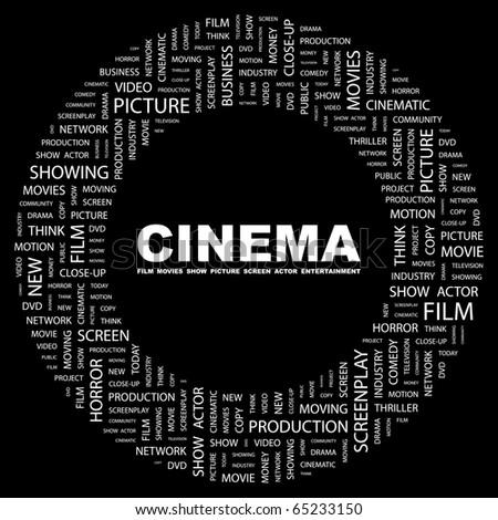 cinema word collage on black