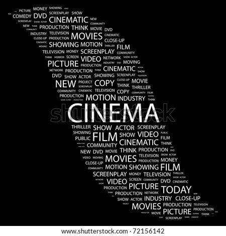CINEMA. Word collage on black background. Vector illustration. Illustration with different association terms.