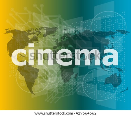 cinema word on digital screen