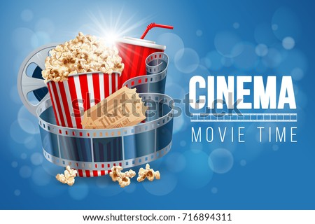 Cinematograph concept banner design template with popcorn, drink, film reel, film tape and ticket on blue bokeh background. Realistic vector illustration.