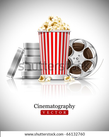 cinematograph in cinema films and popcorn vector illustration - stock vector