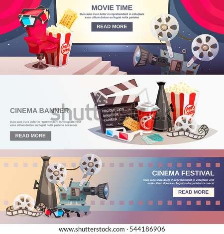 Cinematography flat horizontal banners with movie time and cinema festival design compositions in retro style vector illustration