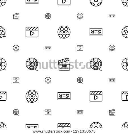 cinematography icons pattern seamless white background. Included editable outline movie tape, movie clapper, film tape, clapper board icons. cinematography icons for web and mobile.