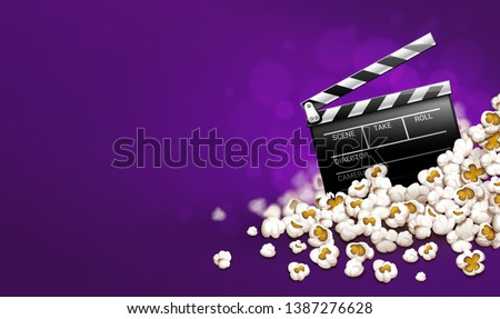 Cinematograpy producer clapperboard in popcorn. Online movies banner template poster concept, copyspace. Clapper in snacks movie theater. Fast food for cinematography entertainment. Illustration.