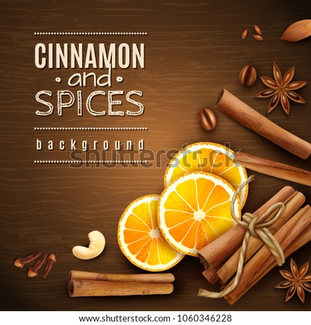 Cinnamon sticks, orange slices, coffee grains and spices anise stars, cloves on wooden texture background vector illustration