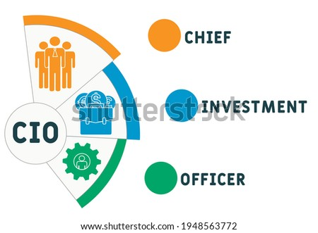 CIO - Chief Investment Officer acronym. business concept background.  vector illustration concept with keywords and icons. lettering illustration with icons for web banner, flyer, landing page Foto stock ©
