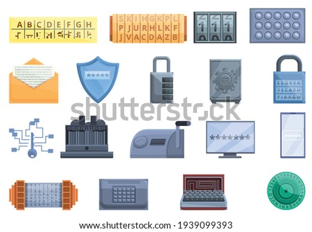 Cipher icons set. Cartoon set of cipher vector icons for web design Foto stock ©