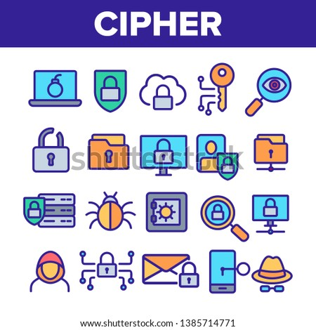 Cipher Linear Vector Icons Set. Information Encryption Thin Line Contour Symbols Pack. Digital Security Pictograms Collection. Privacy, Anonymity, Confidentiality. Cybersecurity Outline Illustrations