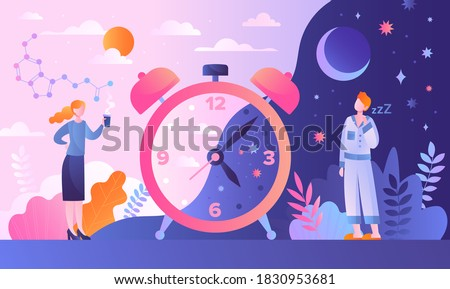 Circadian rhythm concept with tiny characters Foto stock ©