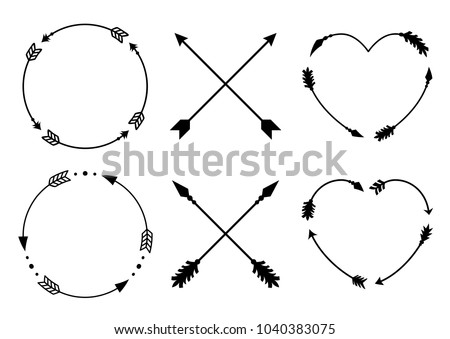 Circle and heart arrow frames for monograms. Criss cross hipster arrows. Arrows in boho style. Tribal arrows set. Vector collection