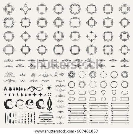 Circle and square wicker rosette in vintage style. VectorSet flourish border & line for decorative of business text, restaurant menu & logo. Calligraphic design element and page decoration. RetroFrame
