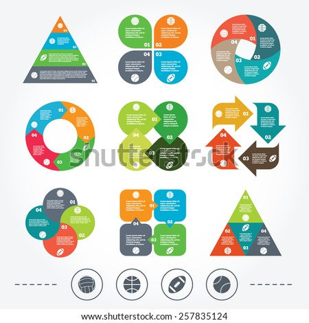 Circle and triangle diagram charts. Sport balls icons. Volleyball, Basketball, Baseball and American football signs. Team sport games. Background with 4 options steps. Vector