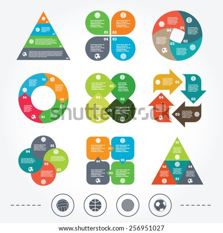 Circle and triangle diagram charts. Sport balls icons. Volleyball, Basketball, Soccer and Golf signs. Team sport games. Background with 4 options steps. Vector
