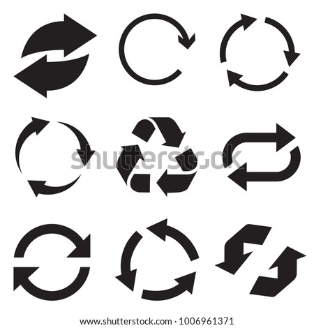 Circle arrow icon. Refresh and reload arrow icon. Rotation vector arrows set. Vector illustartion.