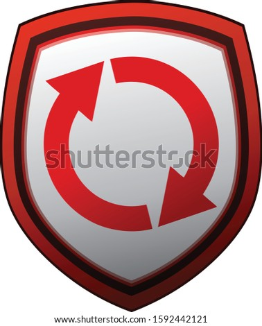 Circle Arrow Shield Protection Sign, Vector Illustration.