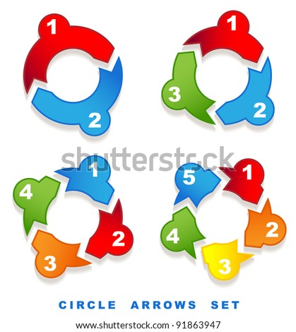 Circle arrows set.  Vector illustration.