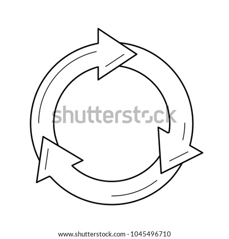 Circle arrows symbolizing reuse vector line icon isolated on white background. Environment cycle, green technology, ecosystem concept. Refresh symbol line icon for infographic, website or app.