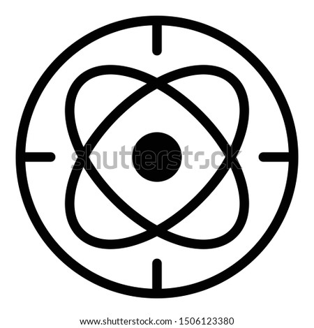 Circle atom alchemy icon. Outline circle atom alchemy vector icon for web design isolated on white background