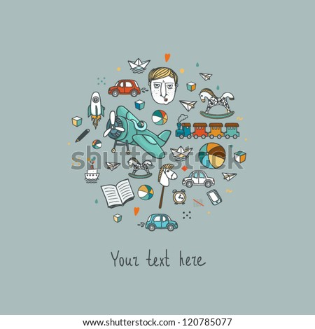 Circle background with baby boy toys - stock vector