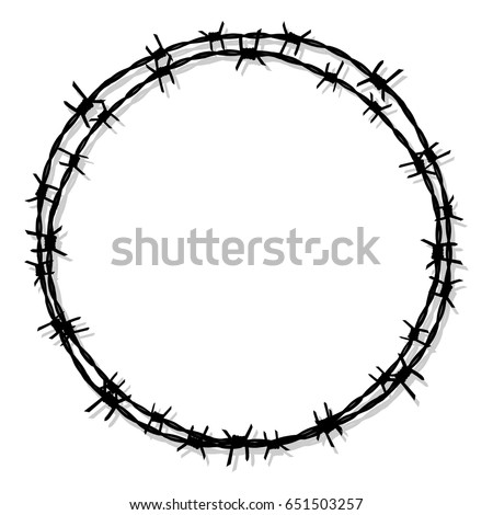 circle barbed wire. prison icon vector