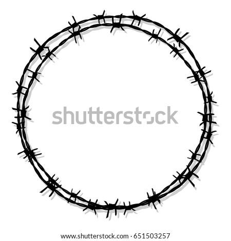 circle barbed wire prison icon