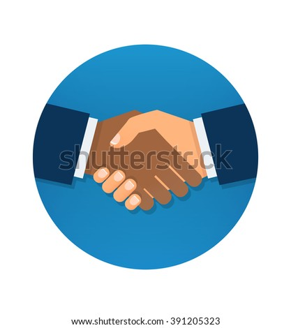 Circle blue icon handshake. Background for business and finance.