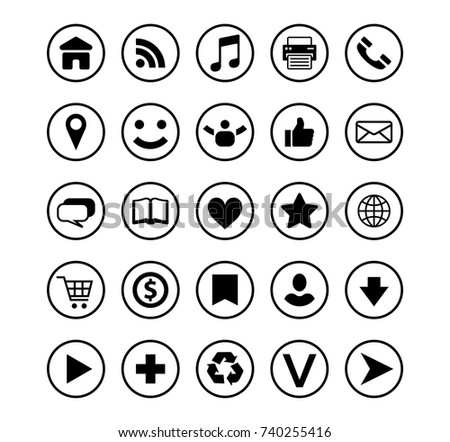 Circle Border Outline Social Media Icons